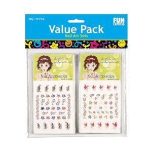FUN EXPRESS 12 Nail Art Decal Packaged Sets