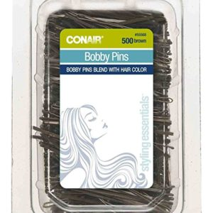 CONAIR Easy Usage Bobby Pins Brown 500 Pack