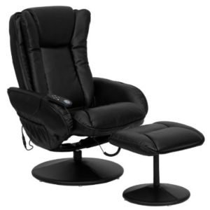 FLASH FURNITURE Massaging Black Leather Recliner Plus Ottoman