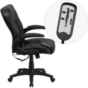 FLASH FURNITURE Massaging Black Leather Swivel Office Chair