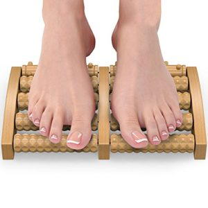 Gideon Portable Wooden Dual Foot Massager Plus Roller