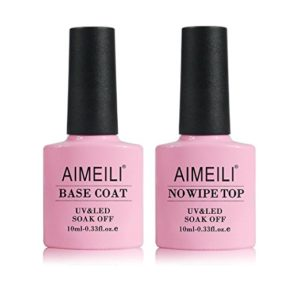 AIMEILI Base Plus No Wipe Top Coat Kit Set