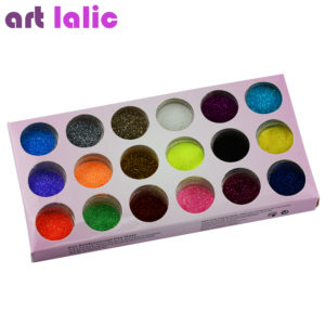 ART LALIC 18 Colors Nail Art Glitter Powder Dust Decoration