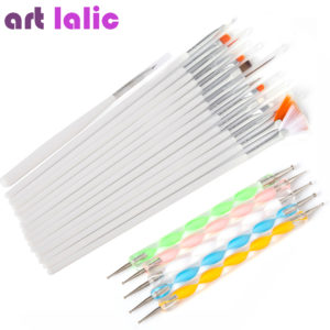ART LALIC 20 Pieces Nail Art Design Pens Brushes Set