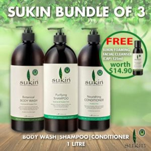 SUKIN Haircare Shampoo Conditioner Body Wash Set