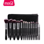 MSQ Pro 15 Pieces Makeup Brushes Set Plus Leather Case