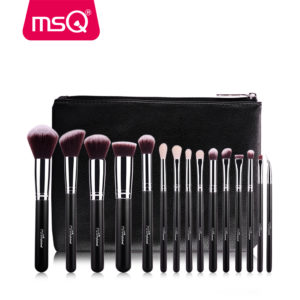 MSQ Pro 15 Pieces Makeup Brushes Set Plus Leather Case