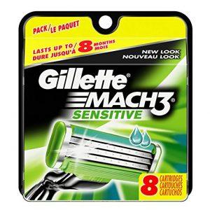 Gillette Mach3 Sensitive Power Razor Blade Refills 8 Count