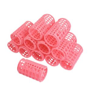 Uxcell Plastic DIY Hair Styling Pink Roller Curler Clips