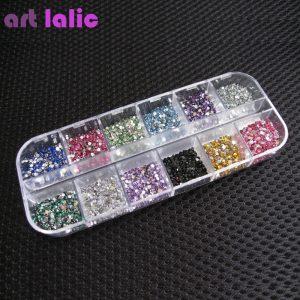 ART LALIC Rhinestones Round Colorful Glitters DIY Nail Art Decoration