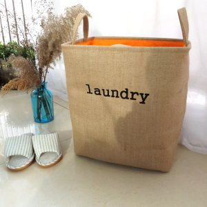 Foldable Denim Linen Rectangular Laundry Basket