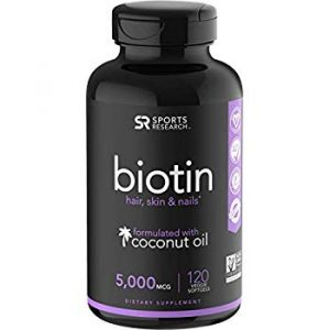 SPORTS RESEARCH Biotin 5000 mcg 120 Veggie Softgels Infused With Organic Virgin Coconut Oil